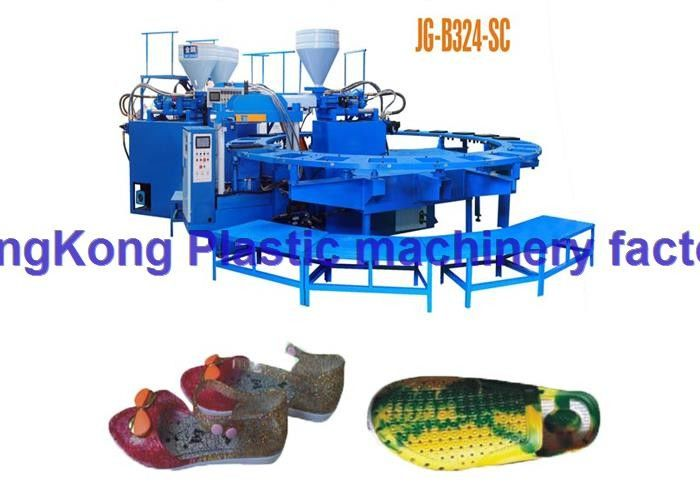 PVC / Plastic Shoe Making Machines With V Mold Block For Three Colors Shoes